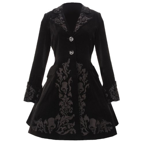 SPIN DOCTOR HELL BUNNY NEW BLACK VELVET VICTORIAN GOTHIC STEAMPUNK OVER COAT