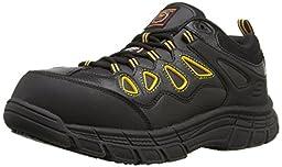 Skechers for Work Men\'s Dunmor 77070 Work Shoe, Black Leather/Yellow Trim, 9 M US