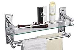 Cipla Plast Bathroom Glass Shelf with Double Towel Rods - Global 224G + Free 14 Pcs Multipurpose Buffers - BRC - 224G