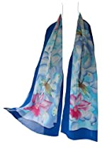 "JJcollection Hand Paint Silk Scarf,58""Lx13""W, Dragonfly, Blue/Purple"
