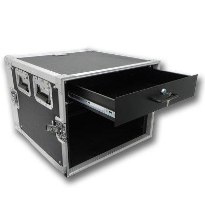Seismic Audio - 8 SPACE RACK CASE WITH 2U LOCKING DRAWER Amp Effect Mixer PA/DJ PRO