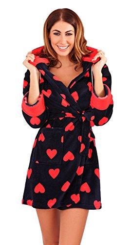 Lora Dora Womens Luxury Fleece Dressing Gowns Short Hooded Bath Robes Size UK 6-16