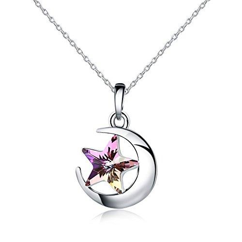 Swarovski Elements - Placcato platino - Collane con pendente a forma di stella(Rosa)
