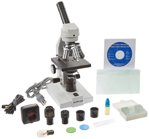 Amscope M500A-P-Ms10 40X-1600X Compound Microscope + Usb Pc Camera + Slides