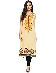 Lookslady Bollywood Fashion Beige Sleeveless Floral Print Polyester Casual Wear V Neck Long Designer ReadyMade...