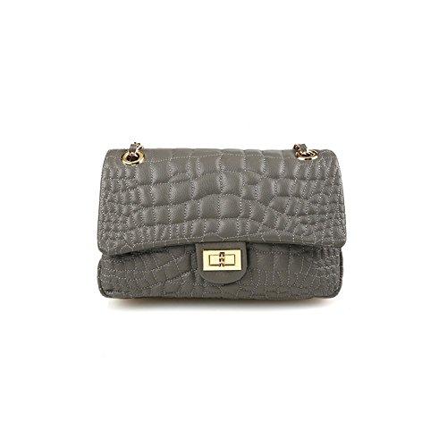 dearwyw-women-genuine-cowhide-leather-unbalanced-quilted-pattern-cross-body-shoulder-bag-gray