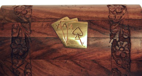 Unique Handmade Wooden Playing Card Holder Box Case with Brass Inlay for Birthday or Housewarming Gifts for Men Women & Kids