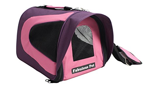 Fabulous Pet Dog Cat Soft Sided Travel Carrier Tote Bag – Purple/Pink Small
