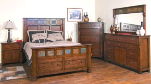 6 Piece Dark Solid Oak Bedroom Set King front-15226