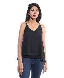 Avakasa Polyester Black Solids Partywear Sleeveless Sleeves Top (top-32-black)