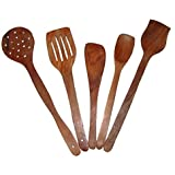 Craftgasmic High Quality Premium Sheesham Wood Spoon Set Of 5 Pcs | Wooden Spatula, Ladle & Kitchen Tool Set