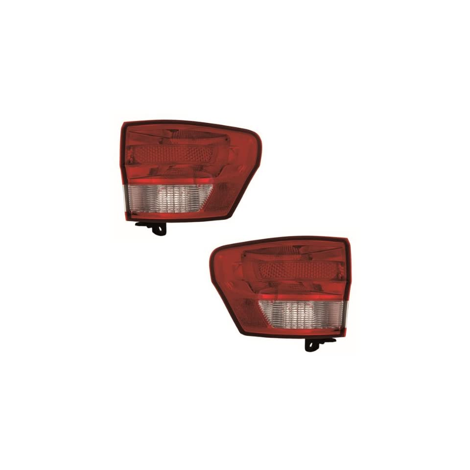 2011 2012 2013 Jeep Grand Cherokee Taillamp Taillight Rear Brake Tail Light Lamp (Quarter Panel Outer Body Mounted) Pair Set Right Passenger And Left Driver Side (11 12 13)
