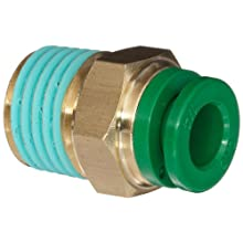 "SMC KR Series Brass Flame Resistant Push-to-Connect Tube Fitting, Connector with Sealant, 1/4"" Tube OD x 1/4"" NPT Male"