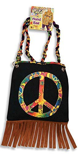 Ladies CND Peace Symbol Handbag Accessory with tassels fringe.