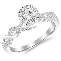 0.38 Carat Twisting Infinity Gold and Diamond Split Shank Pave Set Diamond Engagement Ring with a 0.25 Carat D-E VS2-SI1 Center by Houston Diamond District