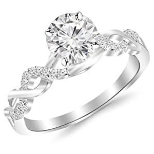 0.98 Carat Twisting Infinity Gold and Diamond Split Shank Pave Set Diamond Engagement Ring 14K White Gold with a 0.85 Carat I-J SI2-I1 Round Brilliant Cut/Shape Center
