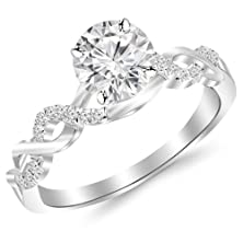 buy 0.38 Carat Twisting Infinity Gold And Diamond Split Shank Pave Set Diamond Engagement Ring 14K White Gold With A 0.25 Carat F-G Si2-I1 Round Brilliant Cut/Shape Center