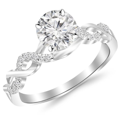 0.5 Carat Twisting Infinity Gold And Diamond Split Shank Pave Set Diamond Engagement Ring 14K White Gold With A 0.37 Carat I-J I2 Round Brilliant Cut/Shape Center