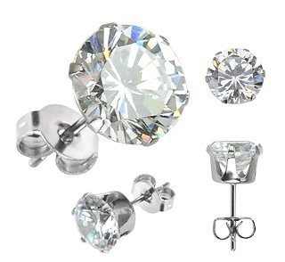 316L Surgical Stainless Steel 6.00 ct Stud Earring with 10mm Round Clear CZ