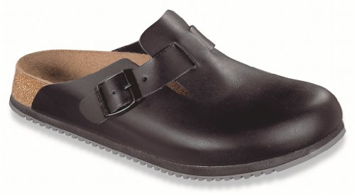 Birkenstock Boston Clogs black Leather Width: Wide Size 39.0