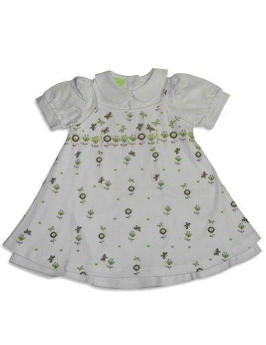 Snopea - Baby Girls Smock Jumper Dress Set, White, Lime 27577-24Months front-749145