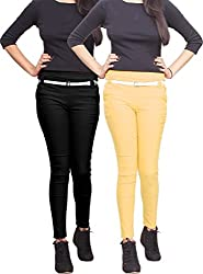 Xarans Stylish Black & Beige Cotton Lycra Zip Jegging Set of 2 Pcs