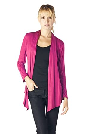 Women'S Rayon Span Super Comfortable Basic Cardigan - Fuchsia S