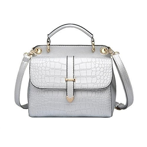 iTECHOR-Frauen-Lieben-Mode-Alligator-Muster-PU-Leder-Stereotypen-Handtasche-Crossbody-Umhngetasche-Silber