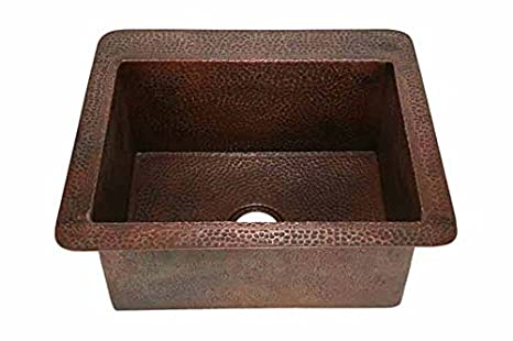 "25"" Petite Single Well Copper Standard Kitchen Sink"