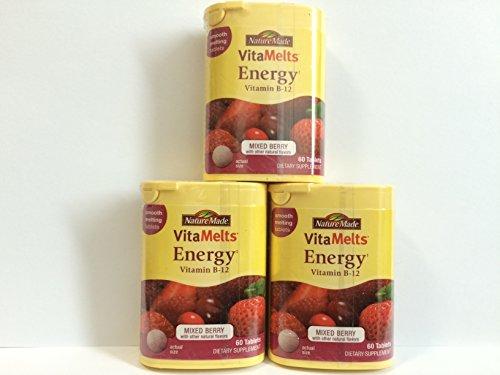 Nature Made Vitamelts Energy, Vitamin B-12 1500 Mcg, 60 Tablets x 3 Packs = 180 Tablets. (Nature Made Vitamelts Energy compare prices)
