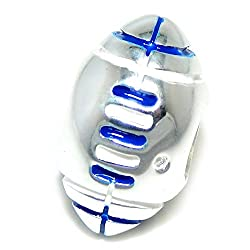925 Solid Sterling Silver Football with Blue and White Laces Charm Bead