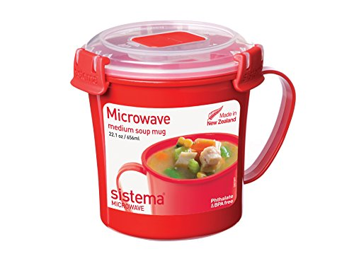 Sistema Microwave Cookware Soup Mug, Medium, 22.1 Ounce/ 2.8 Cup, Red (Plastic Cups Microwave Safe compare prices)