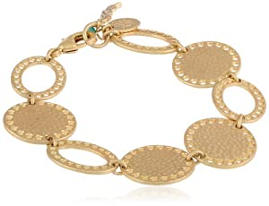 "NINE WEST VINTAGE AMERICA ""Full Circle"" Gold-Tone Circle Flex Link Bracelet, 7.5"""