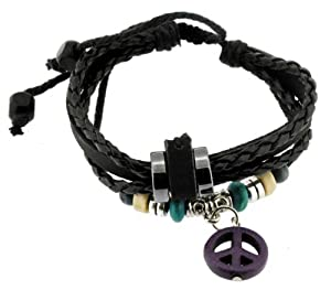 Purple Peace Symbol Zen Bracelet / Leather Bracelet / Leather Wristband / Surf Bracelet Adjustable Size, for Men, Women, Boys and Girls, Teens, #321