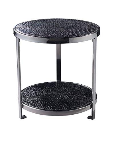 Artistic Glam Croc Coffee Table, Black Faux