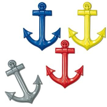 Plastic Ship's Anchors (asstd colors) Party Accessory  (1 count) - 1