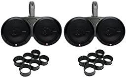 4) Rockford R165X3 6.5-Inch 180W Speakers with 2) 6.5-Inch 12KMTED Dual Tower Enclosures (Pair)