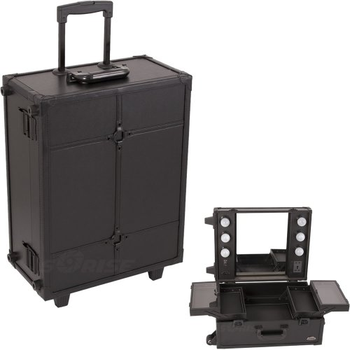 19.75 Inch 4 Tiers Lighted Mirror All Black Leather-Like Wheeled Rolling Professional Makeup Cosmetic Storage Organizer Luggage Train Case front-1042949