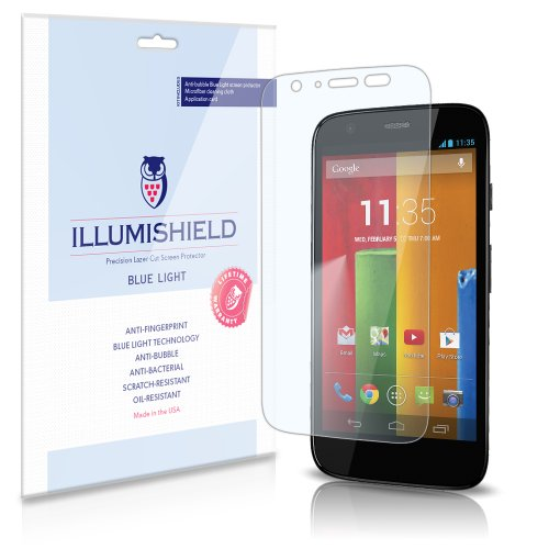 Illumishield - Motorola Moto G (Hd) Blue Light Uv Filter Screen Protector Premium High Definition Clear Film / Reduces Eye Fatigue And Eye Strain - Anti- Fingerprint / Anti-Bubble / Anti-Bacterial Shield - Comes With Free Lifetime Replacement Warranty - [