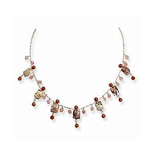 Sterling Silver Cherry Quartz/Carnelian/Red Jasper Necklace