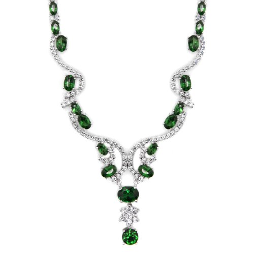 Little Treasures - Silver Plated Emerald CZ Drop Necklace