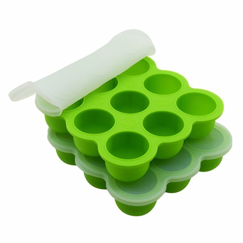 2Packs Baby Food Storage Containers with Silicone Clip-On Lid, 9 Cavities Baby Food Freezer Trays by Suntake(Green) (Baby Food Cubes Storage compare prices)