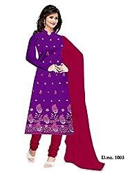 Shree Vardhman Purple Crap Unstitched Dress Material