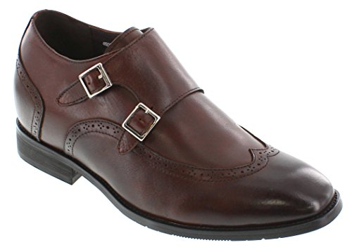 Calto - G1086 - 3 Inches Taller - Size 7 D Us - Height Increasing Elevator Shoes (Dark Brown Leather Strap Buckle Wing-Tip Dress Shoes)