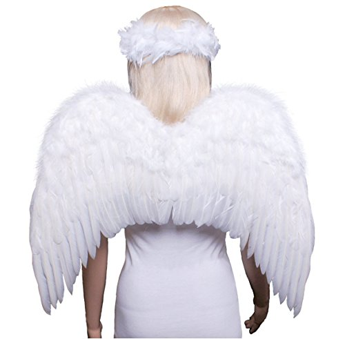 FashionWings (TM) Teens Adults Classic White Costume Feather Angel Wings & Halo