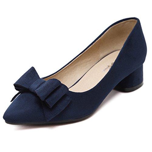 Summerwhisper Women's Bowknot Pointed Toe Low Heel Dress Pumps Shoes Navy Blue 8.5