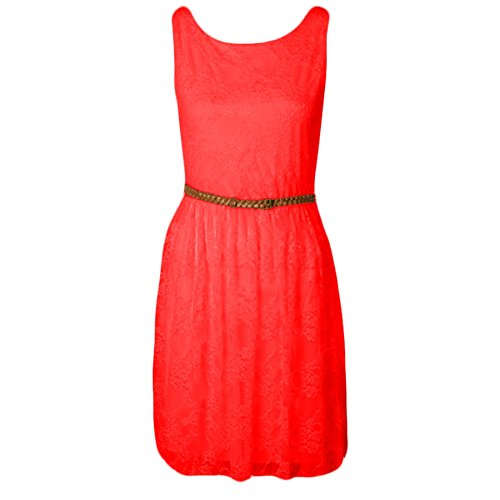 Fashion Wardrobe Womens Dress Belted Sleeve Less Tailored Skater Top Ladies Lace Floral Dresses (USA 10-12 / UK 12-14 (M/L), Coral)