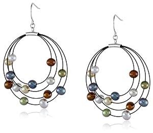 """Honora """"Dark Multi"""" Freshwater Cultured Pearland Steel Galaxy Earrings"""