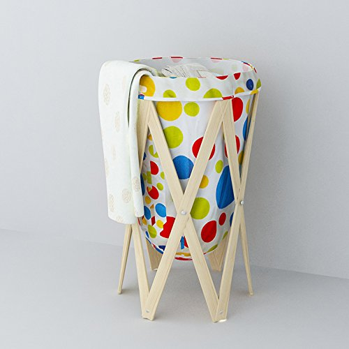 Clown outdoor Woven Fabric, Foldable wooden Laundry Basket, Folding Dirty Laundry Hamper, Decorative Foldable Clothes Bin, with Mesh Lingerie bag for Laundry, Beautiful and Top Quality (Colorful) (Colorful Laundry Baskets compare prices)