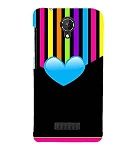 MULTICOLOURED HEAR SHAPED PATTERN 3D Hard Polycarbonate Designer Back Case Cover for Micromax Canvas Spark Q380